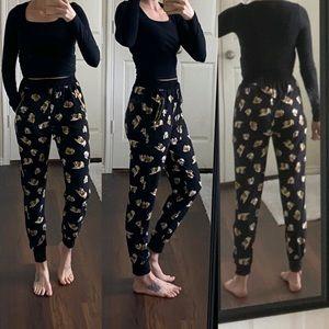 Black dog print joggers pants